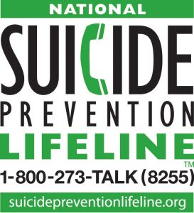 image of national suicide prevention lifeline logo with number 1-800-273-8255 and URL suicidepreventionlifeline.org