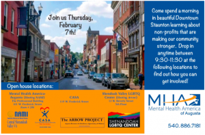 Poster with image of downtown street providing information about the 2/7/19 Downtown Staunton Community Partners Meet and Greet hosted by Mental Health America of Augusta 9:30-11:30 a.m. at the Shenandoah LGBTQ Center 13 E Beverly 5th Floor.